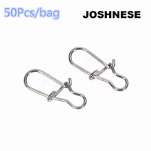 JOSHNESE 50pcs/bag Stainless Steel Hook Fast Clip Lock Snap Swivel Solid Rings Safety Snaps Fishing Hook Connector+Free shipping