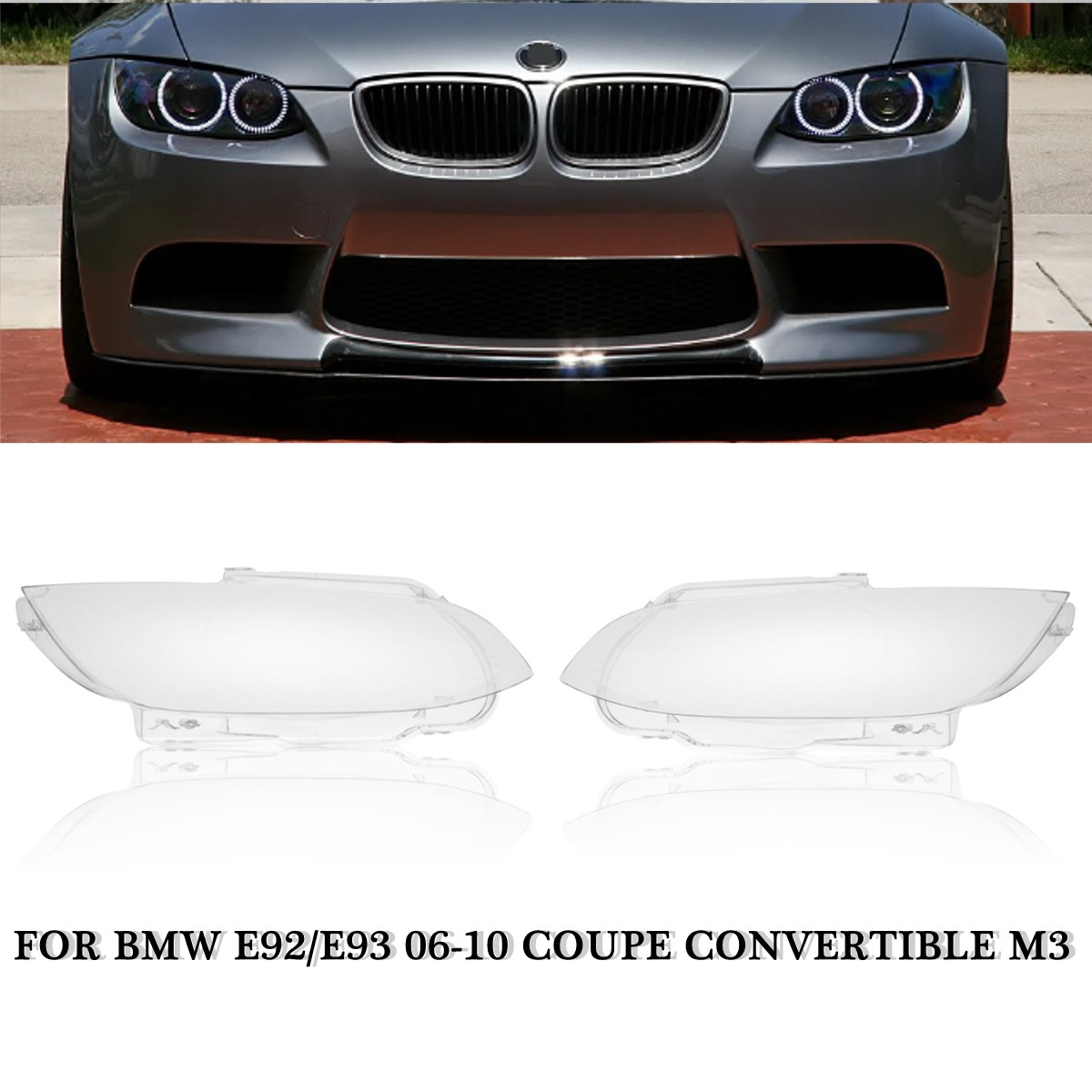 1pc left right car headlight cover headlamp lens cover fit for bmw e92 e93 coupe m3 328i 335i cabrio 2006 2007 2008 2009 2010 [ 1200 x 1200 Pixel ]