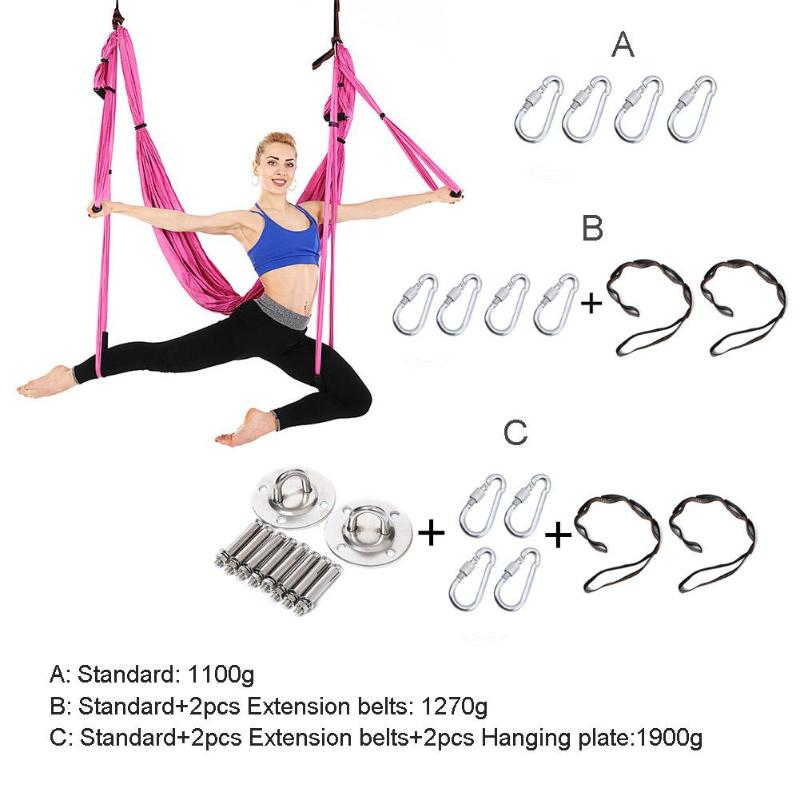 Enthusiastic Sy01 Full Set 6 Grips Anti-gravity Aerial Yoga Hammock Flying Swing Yoga Trapeze Inversion Exercise Home Device Gym Hanging Belt Yoga Belts
