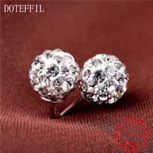 2020 New  Real 925 Sterling Silver Jewelry Stud Earrings Round Zircon CZ Fashion Jewelry Crystal Studs For Women Best Gift 4pcs set 925 sterling silver simple love star cookies cz zircon push back stud earrings lady women fashion jewelry wedding gift