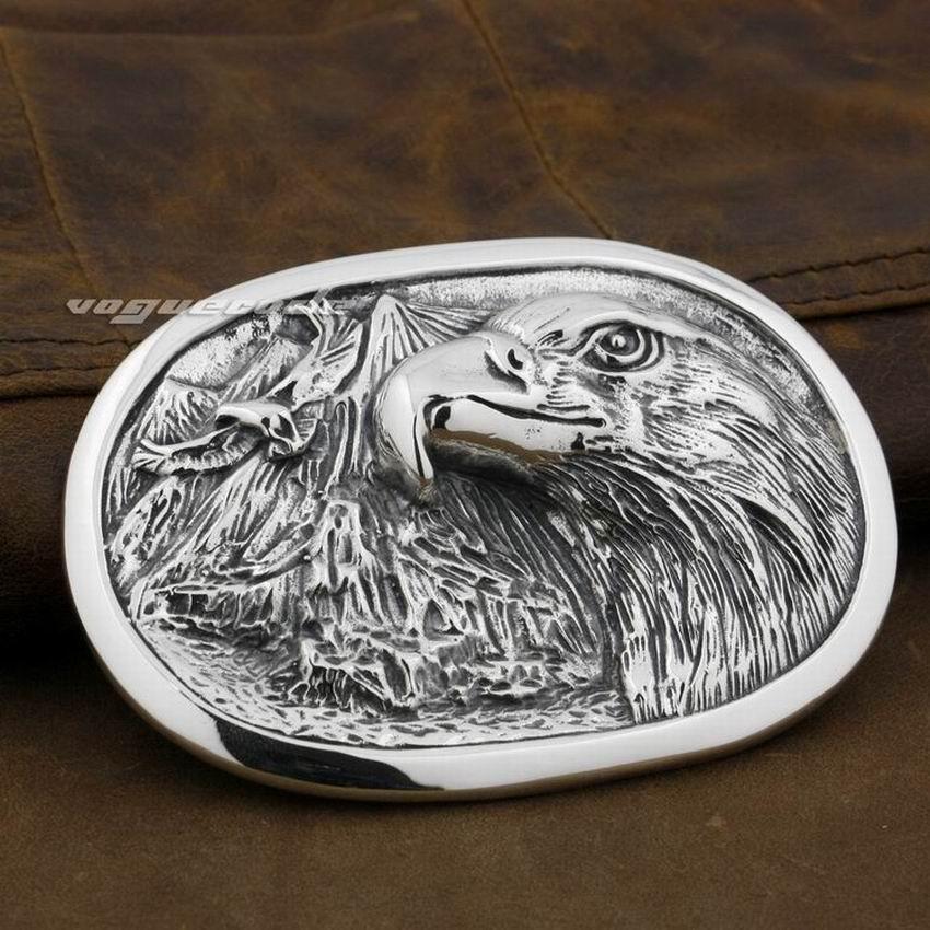 LINSION énorme lourde 925 en argent Sterling solide aigle hommes Biker Rocker boucle de ceinture 9C007
