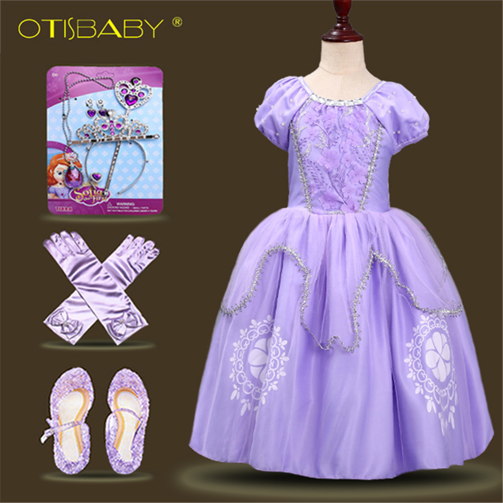 Kids Girls Princess Sofia Dress Rapunzel Dresses Ball Gown Long Party Dress Children Clothing Kids Halloween Cosplay Costume недорго, оригинальная цена