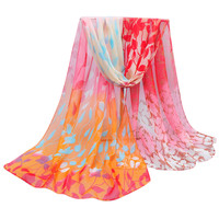 Silk Floral Scarves Women's Scarf Summer Lace Wrap Poncho Winter Shawls D74