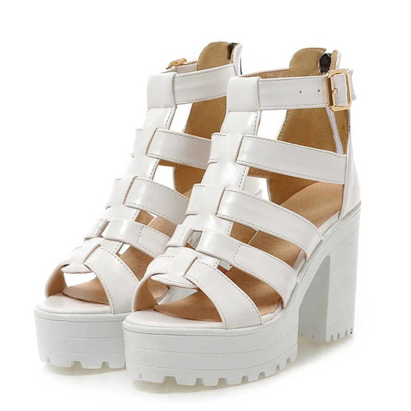 ФОТО Fashion women pumps White/Black Gladiator high heels shoes woman sexy peep toe Hollow out platform sandals ladies wedges shoes