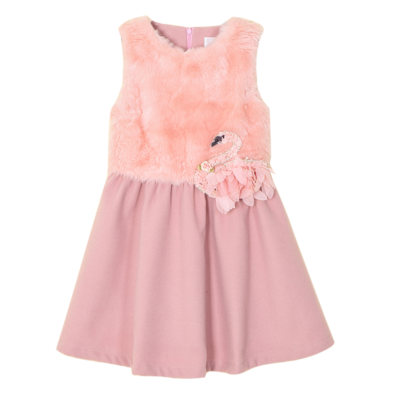 Girls woollen Dresses Autumn Winter Pink Swan Chiffon Pleated Wool-like Sleeveless Children's Clothing Brand Kids Clothes pink swan 100