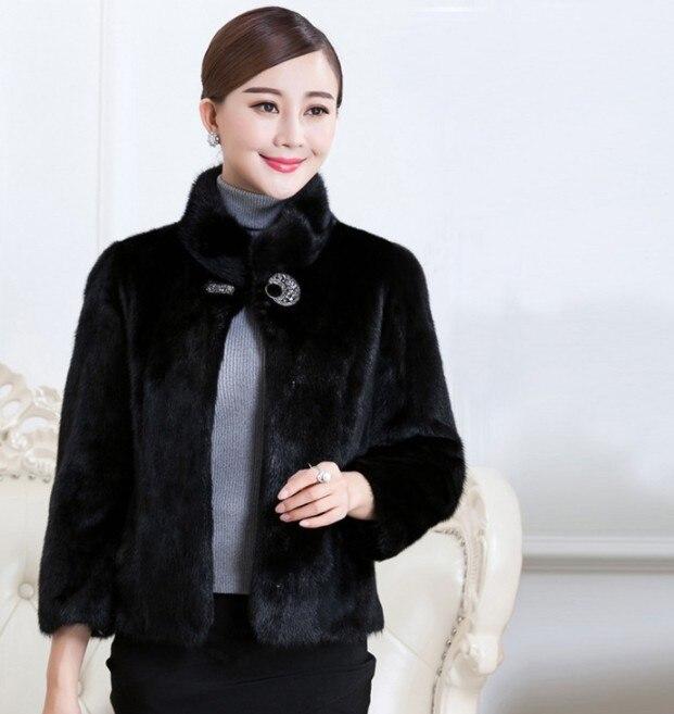Il Pulsante Inverno 2018 Cappotto Donne Di Del Formato Vetement Pelliccia Singolo Furry Faux Aw295 Visone Delle Più Slim Della Impermeabile Outwear 771xZw