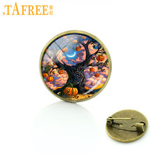 TAFREE new fashion Jack-o-lanterne zucche spille pin vintage vetro cabochon Halloween Night Party gioielli per le donne bambini J67(China)