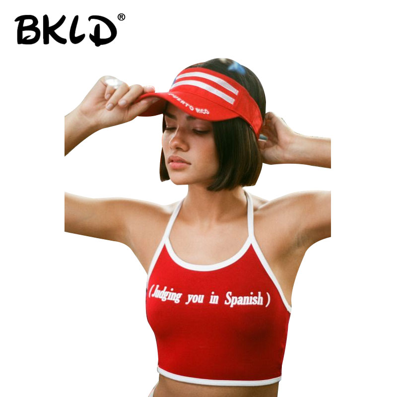 BKLD 2018 Sexy Women Crop Tops Vest Backless Sleeveless Halter Tank Tops Letters (judging You In Spanish) Printed Tank Tops