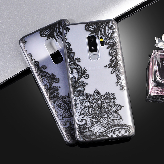 finest selection 28504 a1bb1 US $1.85 5% OFF|Retro Sexy Lace Case For Samsung Galaxy S9 Plus Vintage  Floral Flower Printed Soft TPU Phone Cases Cover for Galaxy S9plus-in  Fitted ...