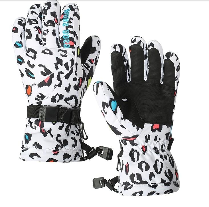 Prix pour Femmes imprimé léopard ski gants pleine doigts mitaines ski gants gants de sport imperméable à l'eau peut match vestes de nombreux styles