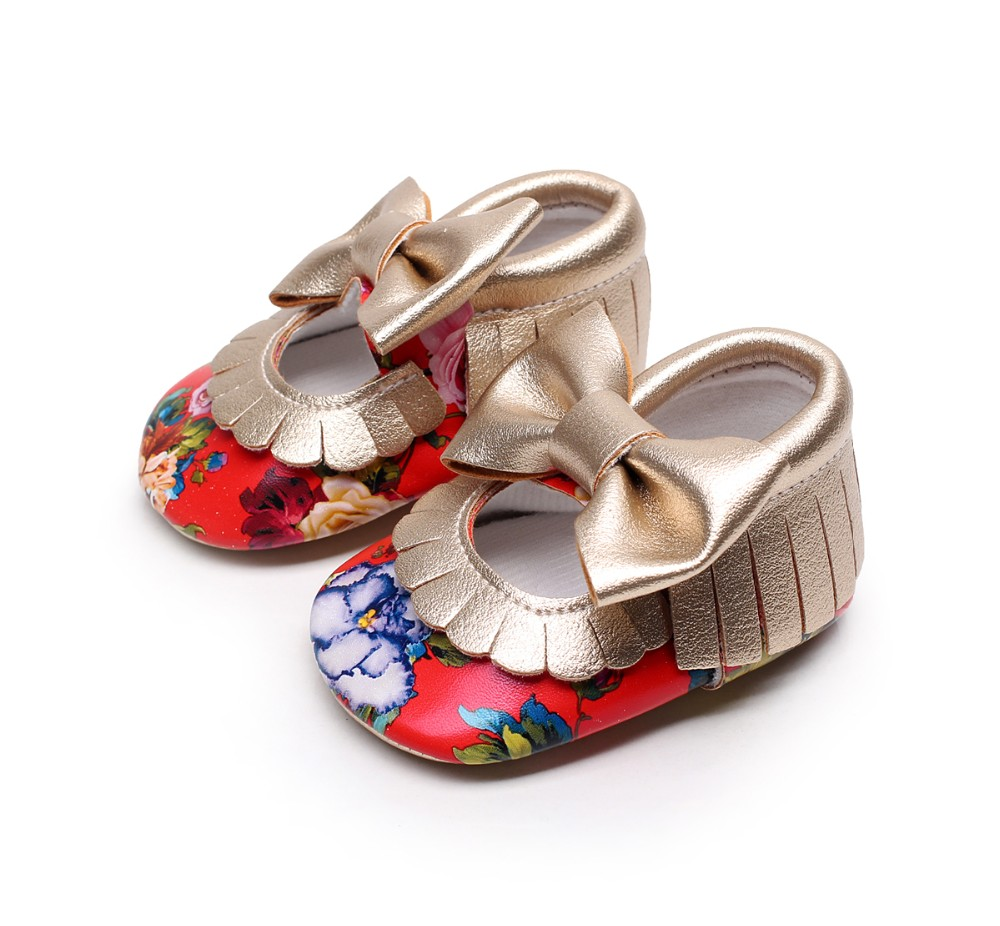 Floral Printing Newborn Infant Baby Girls Shoes Pu Leather Baby Moccasins First Walker Mary Jane Princess Girls Soft Sole Shoes