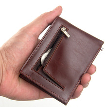 New PU Leather Men Wallet Coin Pocket Zipper Portfolio Handy Luxury Short Bifold Male Purse Card Holder