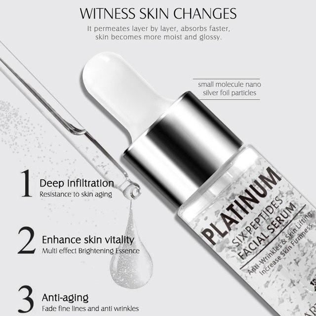 ARTISCARE Platinum Six Peptides Serum 20ml Hyaluronic Acid Anti-Wrinkle 24K Gold Face Essence Anti Aging and Whitening Skin Care