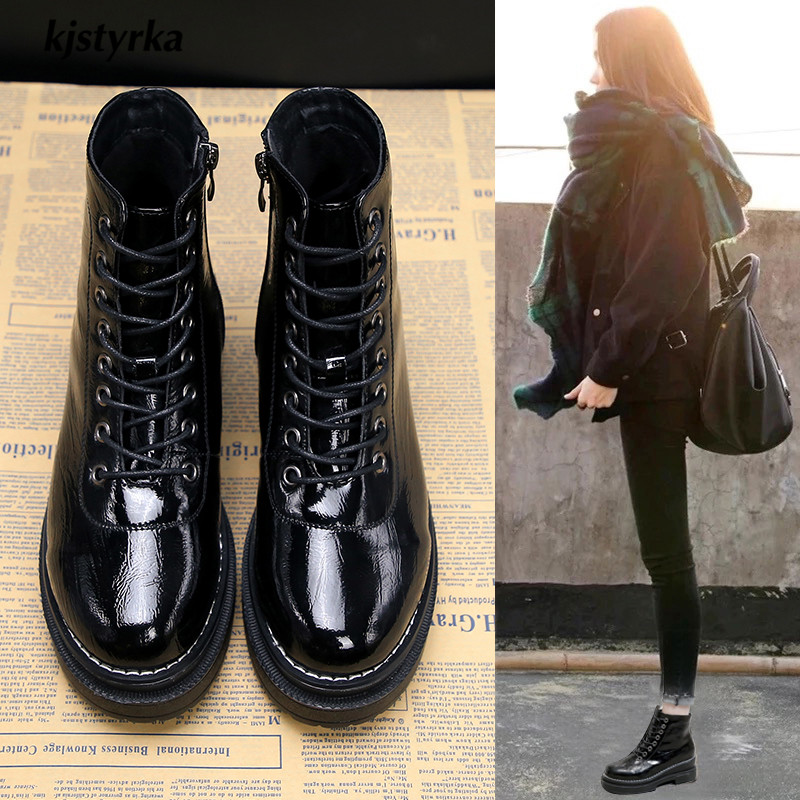 be7d36e0 Kjstyrka botines mujer 2018 Fashion Bright skin casual Women Ankle Boots  winter warm ladies increase lace-up botas botines mujer