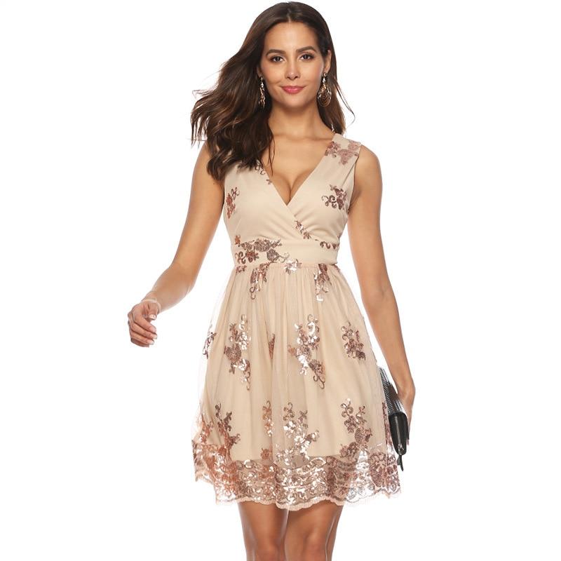 women summer dress 2019 elegant sequin shiny party night club dress plus  size v-neck sleeveless short sparkly dress runway A2528