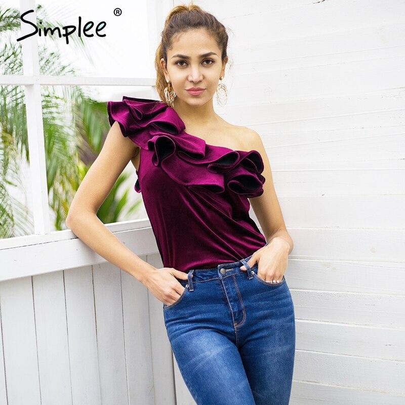 Simplee Velvet one shoulder ruffle blouse shirt Women autumn winter sexy blouse blusas Elegant party streetwear blouse tops 2017