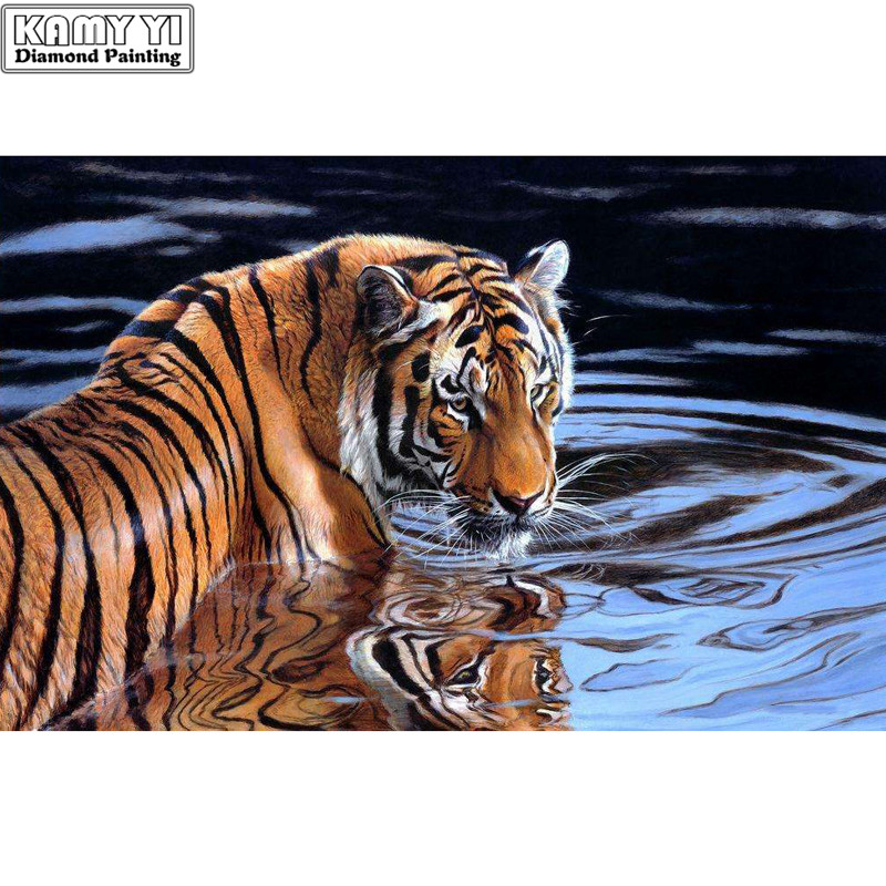 5D DIY Diamond Painting Cross-stitch Tiger Cross River Crystal Needlework Full Diamond Embroidery Paintings By Numbers On Canvas