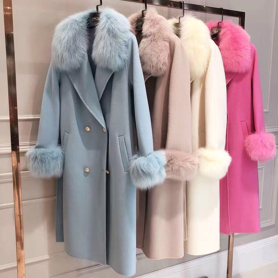 High quality trendy elegant cashmere wool x-long coat for women genuine fox fur trim collar winter coats office lady wear