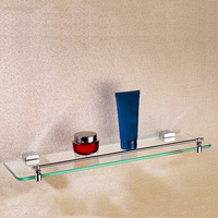 Bathroom Shelf Chrome Wall Mounted Rectangle Toilet Corner Single Glass Shelf Brass Shower Storage Rack Shampoo Bathroom Holder