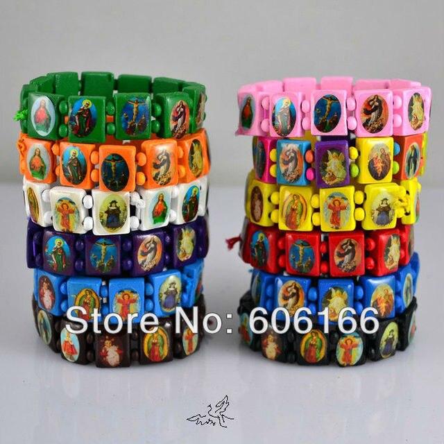 24pcs Lot Mix Color Rosary Beads Bracelet Catholic Wooden Holy Icon Virgin Mary Bracelets