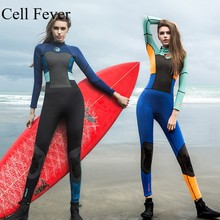 цена на 1.5MM Neoprene Wetsuit Women Long Sleeve One Piece Surf Diving Suit For Swim Contrast High Elastic Jumpsuit Jellyfish Clothes