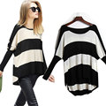 Batwing Sleeve Striped Sweater 2017 Spring Summer Thin Pullover Knitted Sweater Loose Casual Women Sweater And Pullover FreeSize