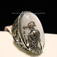 Vintage Tibetan Silver Opal Ring Decorated Female Goddess Finger Rings Free Shipping
