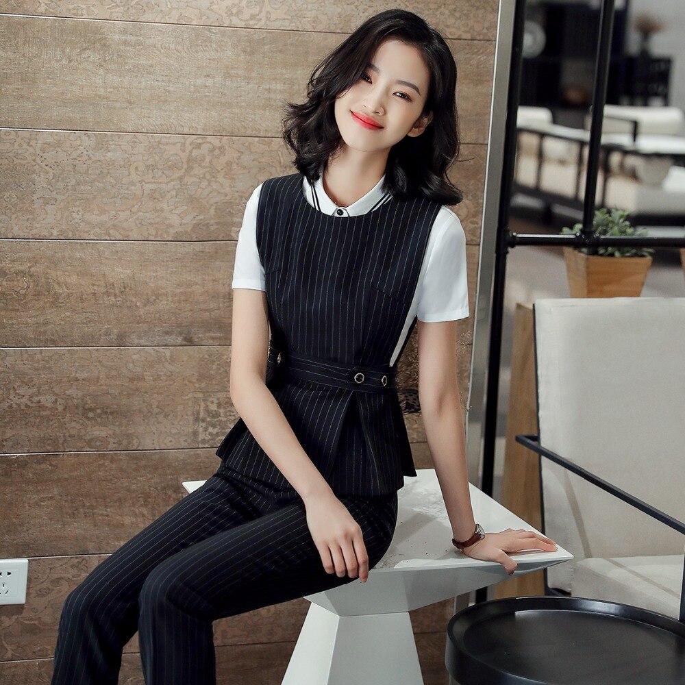 2018 Office Lady Work Wear 2 Pezzo Insieme Formale Vestito Di Mutanda Formato S-4xl Gilet Cintura Nera Delle Donne Della Maglia Giacca Senza Maniche Giacca Sportiva Mutanda