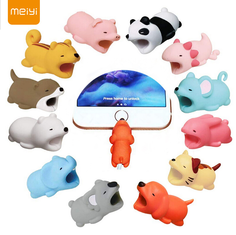 MEIYI Cable Bites Cute Animal Date Cable Protector Bite Winder For IPhone USB Cable Protector Organizer Chompers For Iphone X XS