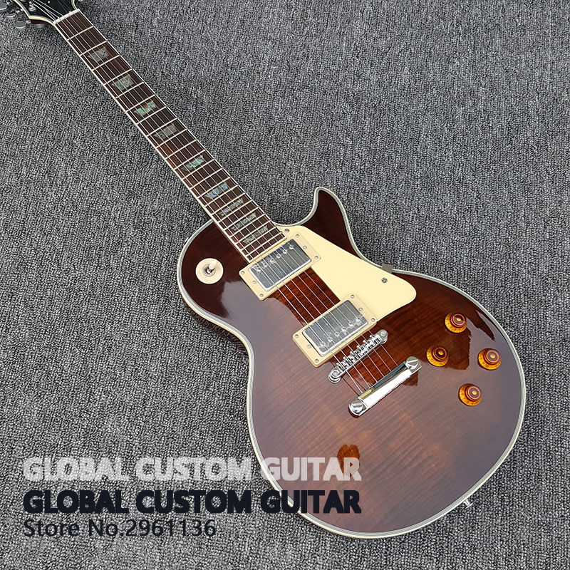 in stock New High Quality Custom shop Bacon color lp Electric Guitar Tiger stripes cover 1959 R9 Free shipping!!! lp electric guitar les tiger striped maple cover yellow color paul golden hardware classical 1957 guitar support customization