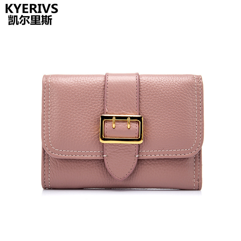 KYERIVS Genuine Leather Wallet Women 2017 Fashion ID Card Holder Women Purse Wallets with Zipper Small