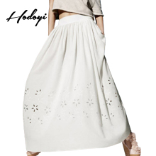 Hodoyi Solid White Women Floor-Length Skirt Hight Waist Streetwear Floral Hollow Out Party Skirt Loose Casual Elegant Maxi Skirt