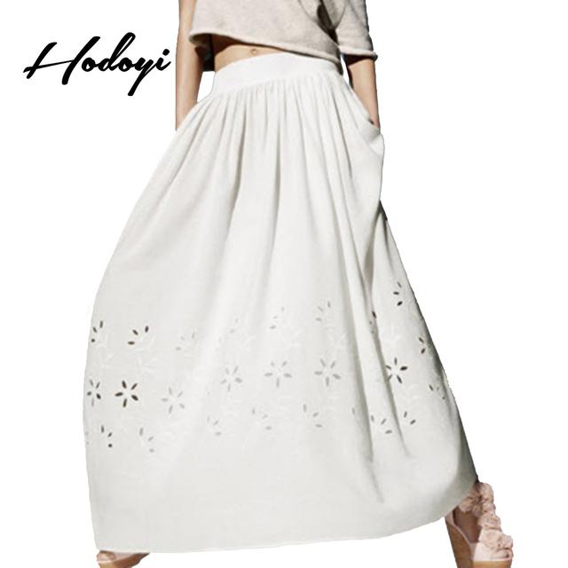 Hodoyi branco mulheres do assoalho-comprimento da saia altura da cintura sólida streetwear floral oco out party saia ocasional solto elegante maxi saia
