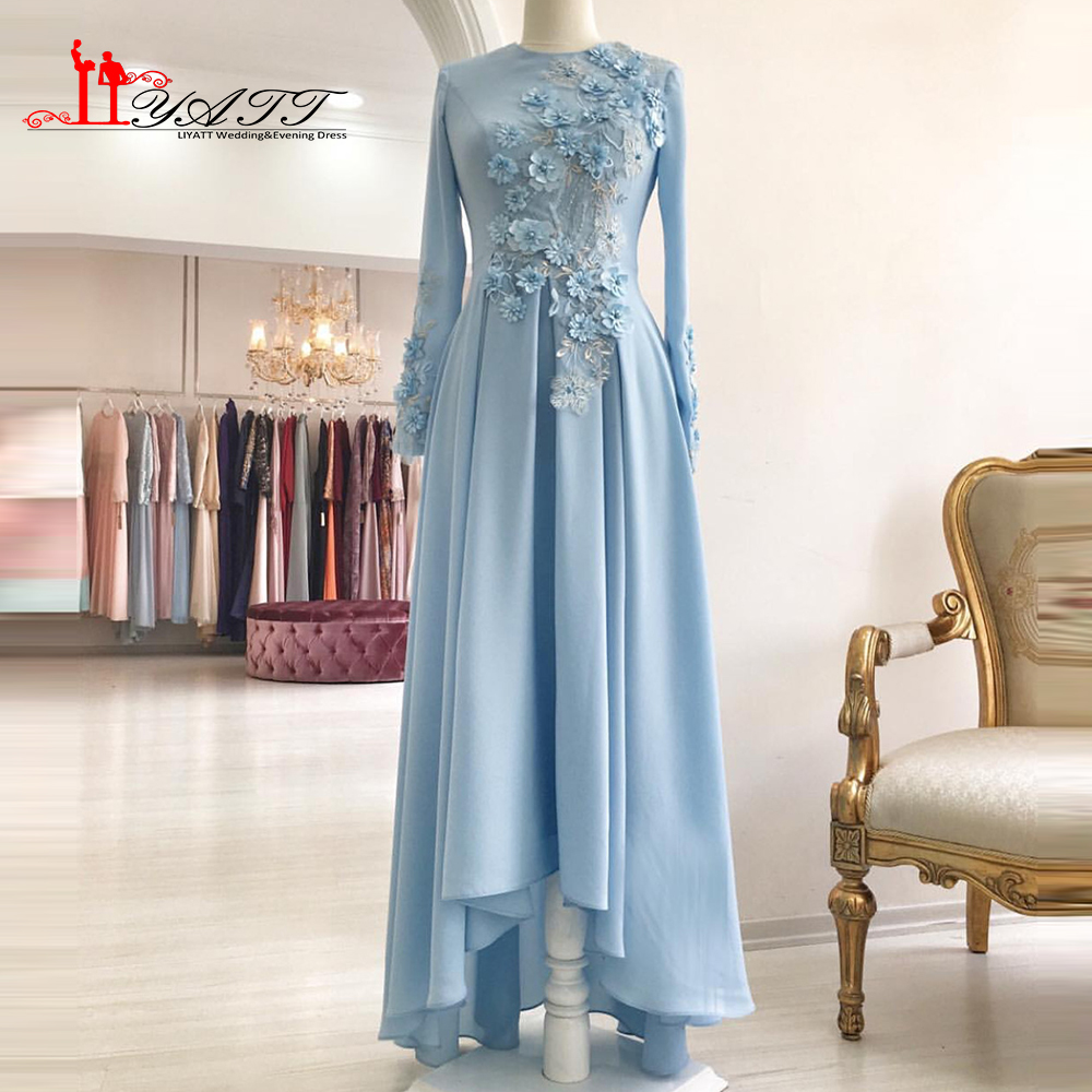 Muslim 2017 New Arrival Long Sleeves Evening Prom Dresses Sky Blue ...