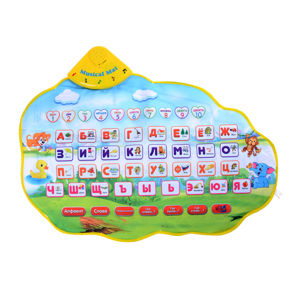 [Bainily]Russian Alphabet Baby Play Mat Music Animal Sounds Educational Learning Baby Toy Playmat Rug Developing Play Puzzle Mat