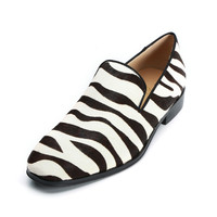 Qianruiti Handmade Horsehair Men Shoes Slip on Zebra Prom Daily Footwear Fashion Design Casual Shoes for Men EU39 47