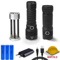 60000 lumens XLamp xhp70.2 most powerful led flashlight hunting Rechargeable usb torch xhp70 led 18650 or 26650 battery