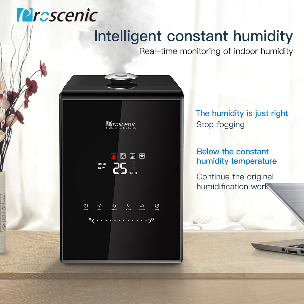 Proscenic 807C Ultrasonic Humidifier 5 5L Vaporizer Warm and Cool Mist for Large Room App and Alexa Control LED Air Humidifier in Humidifiers from Home Appliances