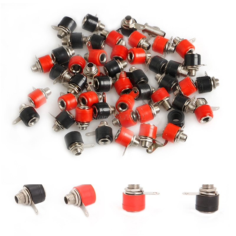 50pc 4mm Banana Panel Socket Test Probe Binding Post Nut Plug Jack Connector Hot Dropship