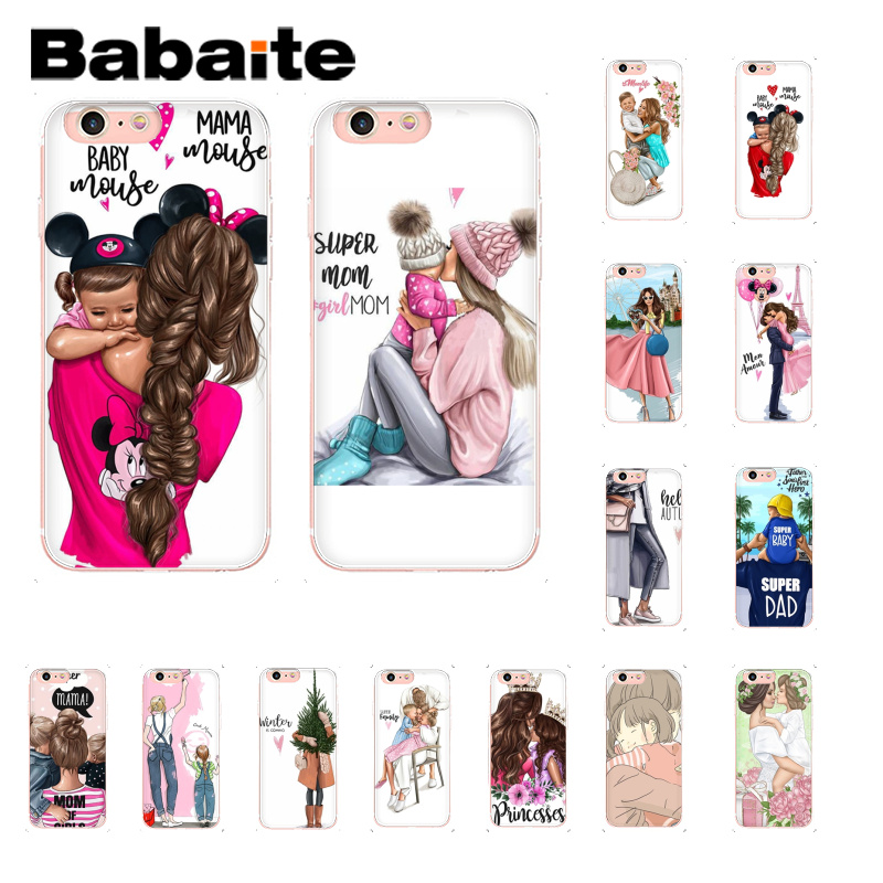 Babaite Black Brown Hair Baby Mom Girl Queen Coque Shell Phone Case for iPhone 8 7 6 6S Plus X XS MAX 5 5S SE XR 10 Cover