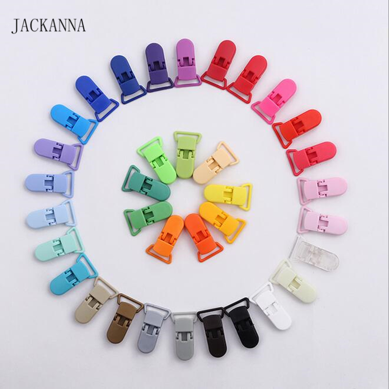 10Pcs Multi Colors Plastic Pacifier Clips 20mm Transparent Dummy Clips Soother Holder For Baby Eco-friendly Baby Pacifier Holder