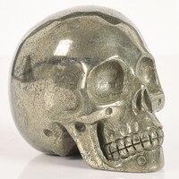 3 Inch Natural Copper Pyrite Handmade Skull crystal human head statue Gemstone Carving Healing Stone Craft figurine
