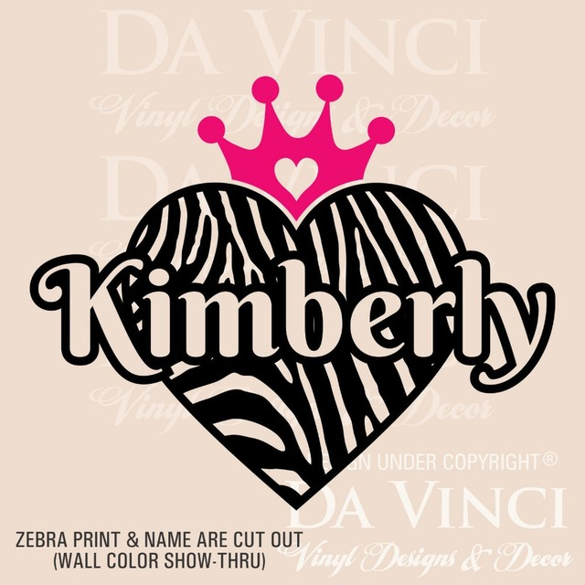 Personalized Zebra Print Heart Princess Crown Custom Name Vinyl - Custom vinyl decals near me