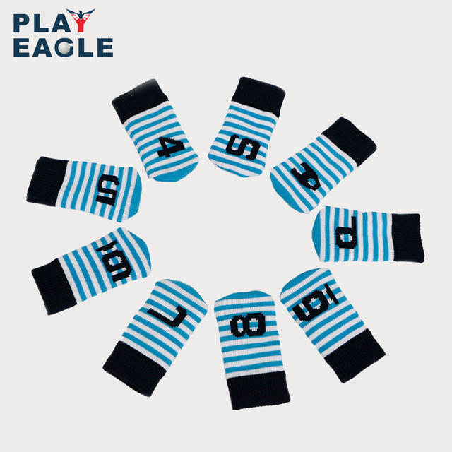 PLAYEAGLE 10 Pcs Iron Head Covers Knitted Golf Head Protector Colorful Stripe New
