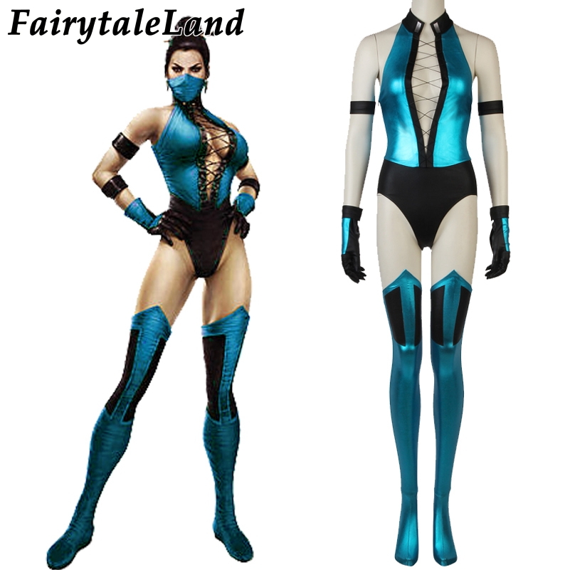 Mortal Kombat X Kitana Cosplay Costume Halloween Costumes Sexy Women Jumpsuit Kitana Costume Mask Custom made Mortal Kombat Suit