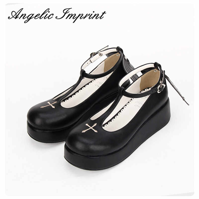 6cc322bec018b Custom Japanese Goth Lolita Cosplay Ankle T-strap Shoes Platform Heel  Comfortable Round Toe Girls Shoes with Wing WHITE/BLACK