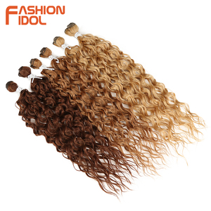 Image 5 - FASHION IDOL Synthetic Hair Extensions Afro Kinky Curly Hair Bundles Ombre Blonde 24 28inch 6 Pcs Heat Resistant For Black Women
