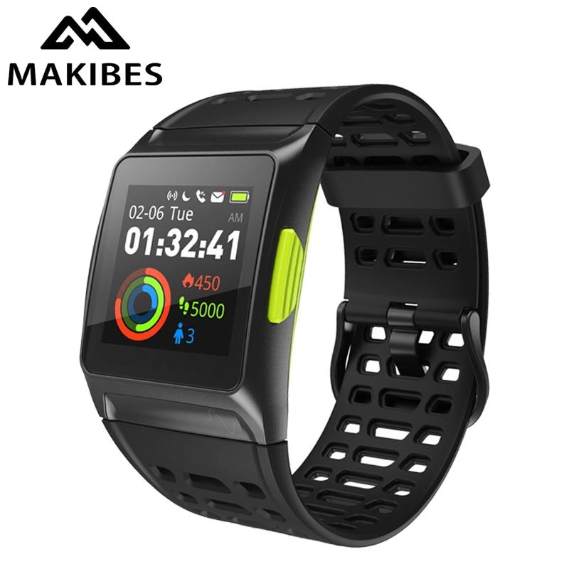 все цены на New Makibes BR1 GPS Sports Wristwatch Activity Tracker Men Strava IPS color screen Dynamic Heart rate tracker Strava Smart Watch онлайн