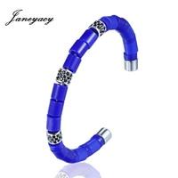 Janeyacy 2018 Fashion Stainless Steel Bangles Men S Ceramic Bracelets Women S Individuality Beads Bracelets Jewelry
