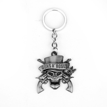 Rock Music Guns N 'Roses Key Chain Llaveros Hot Sell Metal Band Key Ring Two Colors Vintage Pendant Fashion Jewelry Keychain